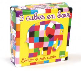 Elmer de Olifant speelgoed - houten blokpuzzel - 6 verschillende dieren