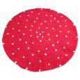 Bolletjeskleed - gevilte rood witte bolletjes vloerkleed