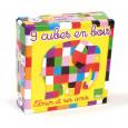 Elmer de Olifant speelgoed - houten blokpuzzel - 6 verschillende afbeeldingen
